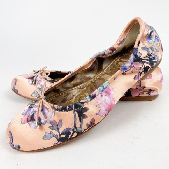 Sam Edelman Shoes - Sam Edelman Satin Ballet Flats Peach Floral 6 A396